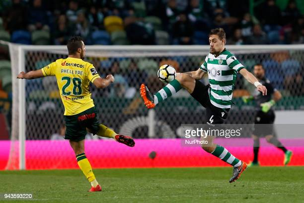 Pacos de Ferreira Forward Luiz Phellype from Brazil and Sporting CP Defender Sebastian Coates from Uruguay during the Premier League 2017/18 match...
