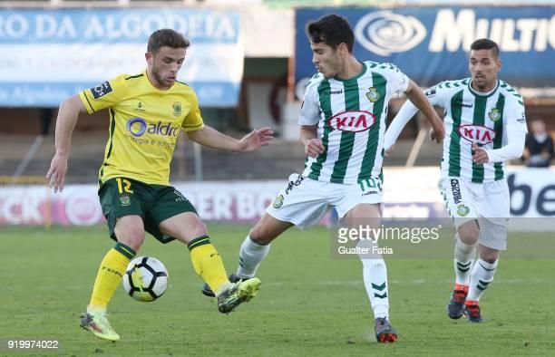 Pacos de Ferreira midfielder Pedrinho from Portugal with Vitoria Setubal midfielder Joao Teixeira from Portugal in action during the Primeira Liga...