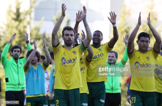 Pacos de Ferreira players celebrates the victory at the end of the Ledman Liga Pro match between SL Benfica B and FC Pacos de Ferreira at Caixa...