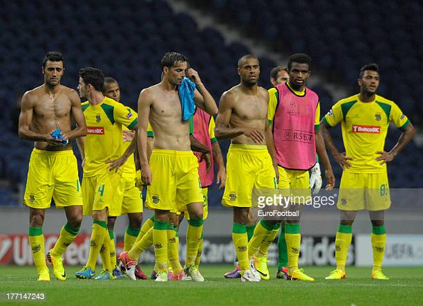 Pacos de Ferreira players dejected after defeat in the UEFA Champions League playoff first leg match between FC Pacos de Ferreira and FC Zenit St...
