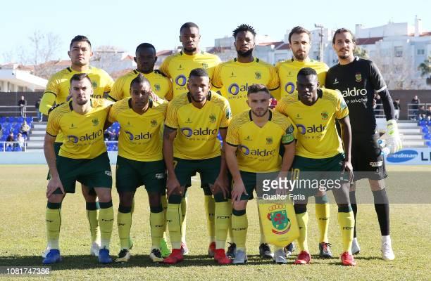 Pacos de Ferreira players pose for a team photo before the start of the Liga Ledman Pro match between CD Cova da Piedade and FC Pacos de Ferreira at...