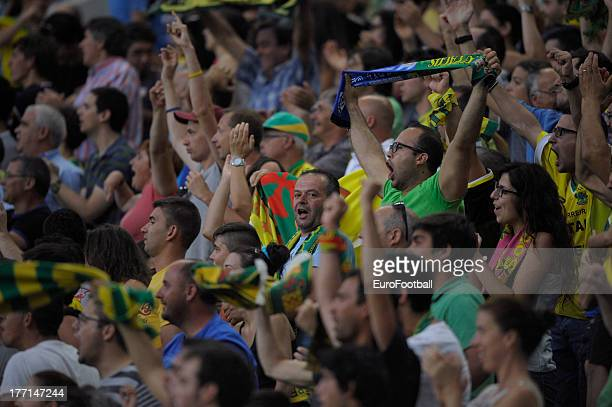 Pacos de Ferreira supporters during the UEFA Champions League playoff first leg match between FC Pacos de Ferreira and FC Zenit St Petersburg held on...