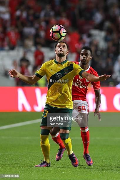Pacos Ferreiras defender Joao Gois from Portugal and Benficas defender Nelson Semedo from Portugal during match between SL Benfica and FC Pacos...
