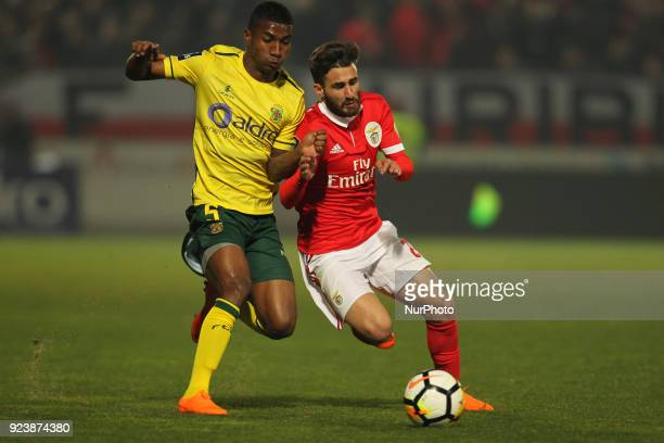 Pacos Ferreira's defender Quino with Benfica's Portuguese forward Rafa Silva during the Premier League 2017/18 match between Pacos Ferreira and SL...