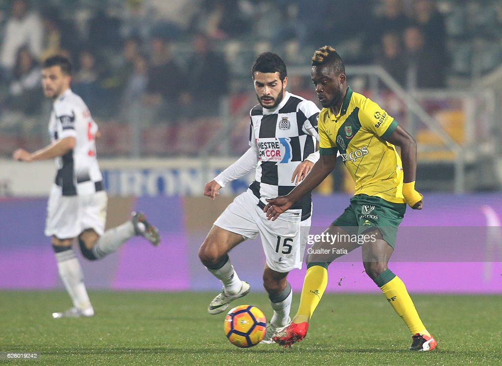 Pacos Ferreira's forward Barnes Osei from Gana (R) with Boavista FC's midfielder Emin Makhmudov (L) in action during the Primeira Liga match between Pacos de Ferreira and Boavista FC at Estadio da Mata Real on December 5, 2016 in Pacos de Ferreira, Portugal.