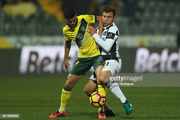 Pacos Ferreira's forward Gleison from Brazil vies with Boavista's midfielder Samu from Portugal during the match between FC Pacos de Ferreira and...