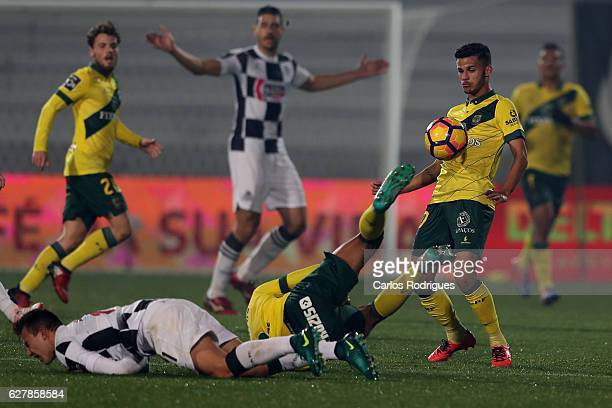 Pacos Ferreira's forward Gleison from Brazil wins the rebound ball during the match between FC Pacos de Ferreira and Boavista FC for the Portuguese...
