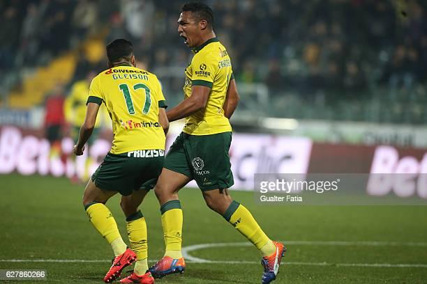 Pacos Ferreira's forward Walton from Brazil celebrates after scoring a goal during the Primeira Liga match between Pacos de Ferreira and Boavista FC...