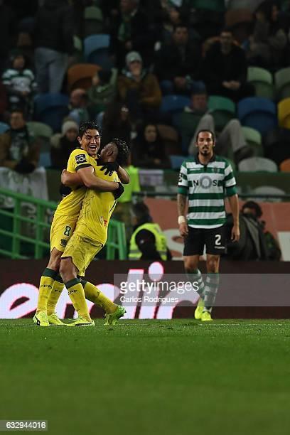 Pacos Ferreira's forward Walton from Brazil celebrates scoring Pacos de Ferreira second goal with Pacos Ferreira's midfielder Christian from Brazil...