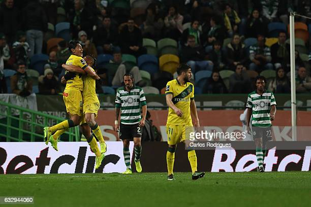 Pacos Ferreira's forward Walton from Brazil celebrates scoring Pacos de Ferreira second goal with Pacos Ferreira's midfielder Christian from Brazil...