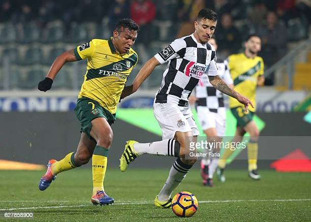 Pacos Ferreira's forward Walton from Brazil with Boavista FCÕs defender Philipe Sampaio in action during the Primeira Liga match between Pacos de...