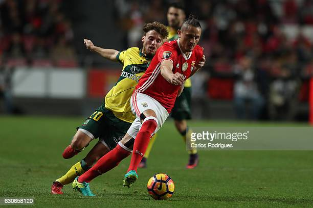 Pacos Ferreira's midfielder Andrezinho from Portugal tries to stop Benfica's midfielder Ljubomir Fejsa from Serbia during the SL Benfica v FC Pacos...