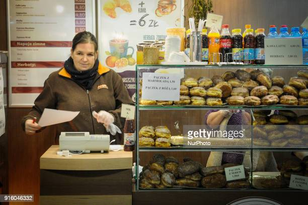 Paczki or Polish donuts are seen on sale on Tlusty Czwartek on Febraury 8 2018 Tlusty Czwartek or Fat Thursday is the last Thursday before the 40 day...
