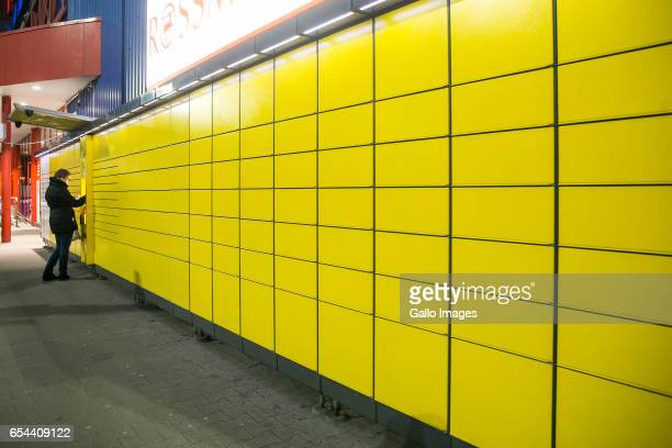 Paczkomat InPost seen on March 16 2017 in Warsaw Poland InPost is a logistics operator of Paczkomaty post box network allowing the 24hour letter and...