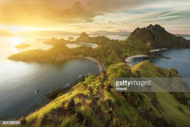 padar island, east nusa tenggara, indonesia - komodo island stock photos and pictures