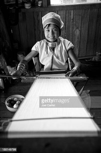 Padaung tribe girl weaving