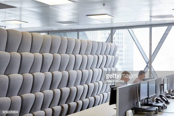 Padded movable sound proof walls and ioffice workers at desks Office Space at The Gherkin London United Kingdom Architect IOR GROUP Interiors Foster...