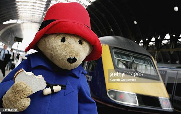 Paddington Bear arrives at Paddington Station 'on his way' to the children's literature event at Buckingham Palace on June 23 2006 in London England