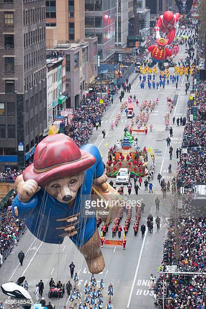 Paddington Bear balloon floats for the the 88th Annual Macy's Thanksgiving Day Parade outside Macy's Department Store in Herald Square on November 27...