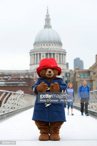 Paddington Bear poses on the Millennium Bridge in front of St Paul's Cathedral in London to mark the release of Michael Bond's final book Paddington...