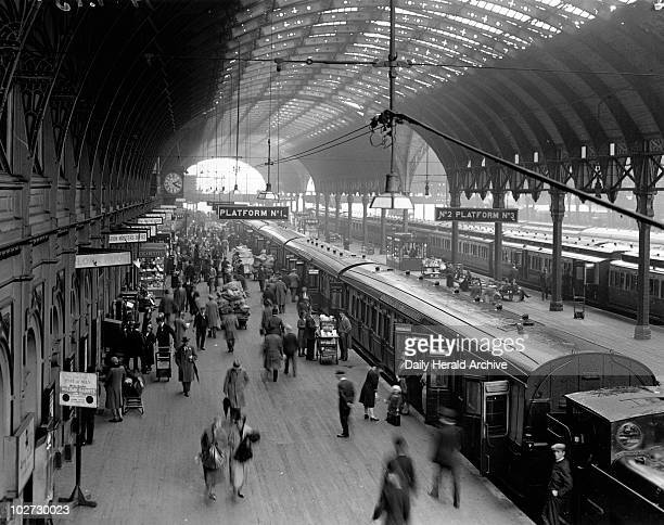 Paddington Station London 10 June 1931 Photograph by Harold Tomlin showing a busy scene on platform 1 with passengers and porters Paddington Station...