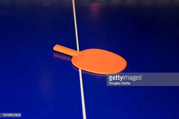paddle and playing board for a tabletop tennis game - table tennis racket stock pictures, royalty-free photos & images