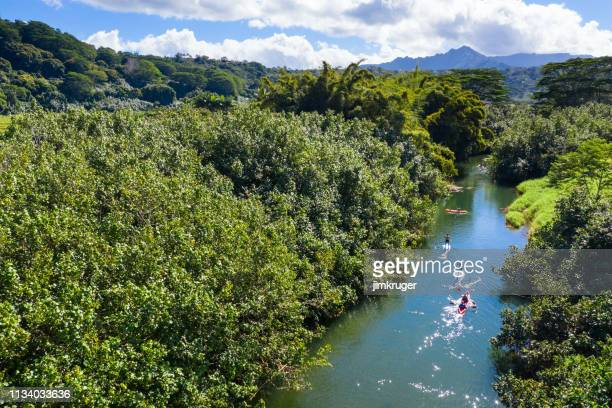paddle board and kayak in kauai, hawaii. - paddleboard stock photos and pictures