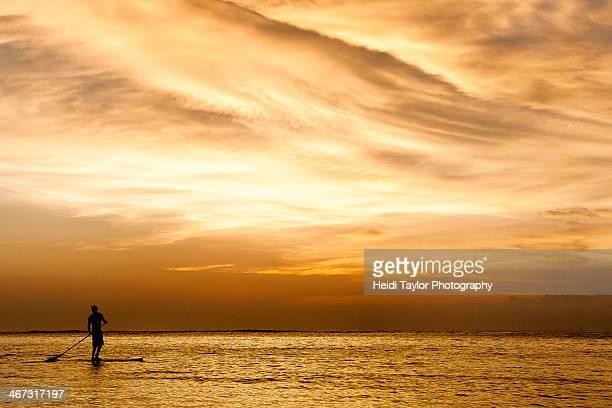 Paddle board at sunset Lembongan, Indonesia