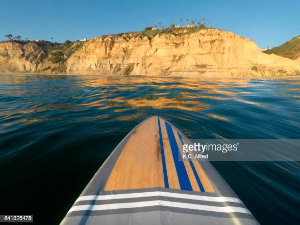 A paddle board glides in the Pacific Ocean at  Black's Beach in the La Jolla section of San Diego, California