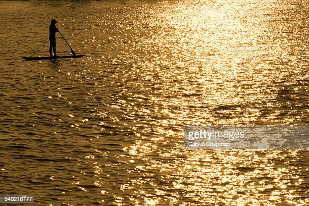 Paddle boarder along Kailua-Kona on the Big Island