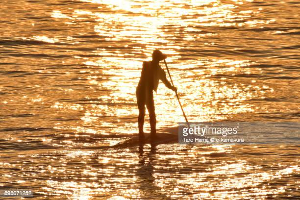 A paddle boarder waiting for next wave in the sunset beach in Kamakura city in Kanagawa prefecture in Japan