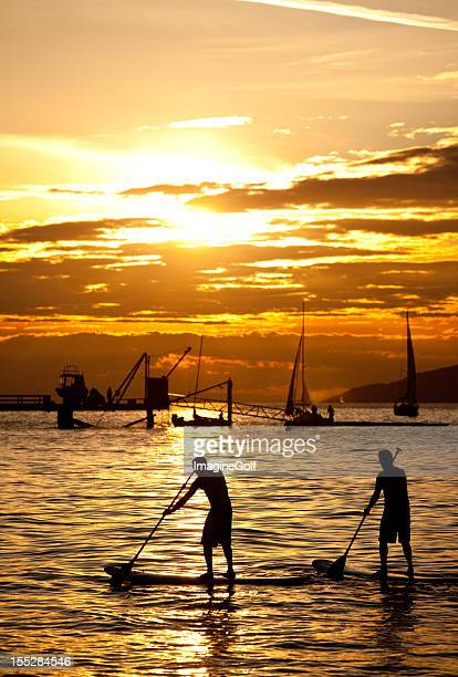 paddle boarders on an evening - english bay stock photos and pictures