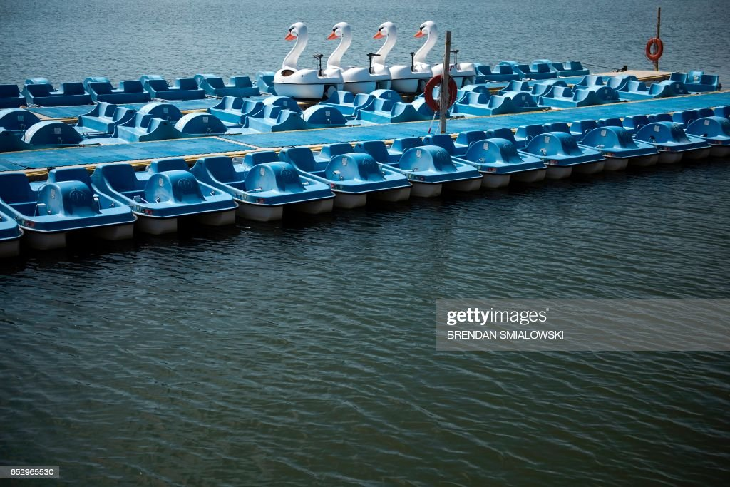 Paddle boats are seen docked along the tidal basin on the National Mall March 13, 2017 in Washington, DC. / AFP PHOTO / Brendan Smialowski