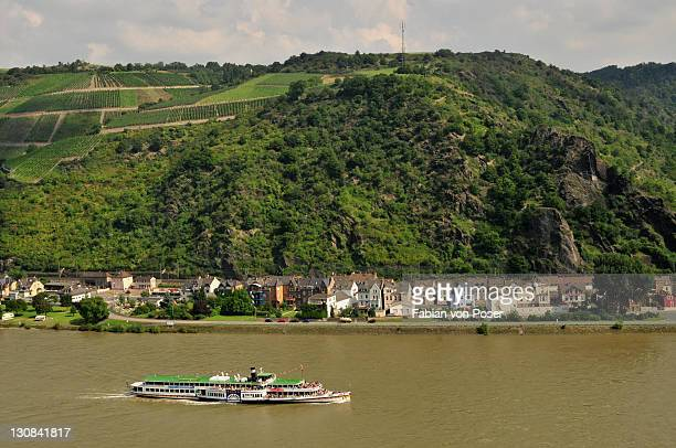 Paddle steamer on the Rhine River near St. Goarshausen, Rhineland-Palatinate, Germany, Europe