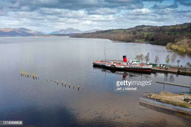 Paddle steamer the Maid of The Loch is seen with an empty Loch Lomond during the Coronavirus lockdown on April 12, 2020 in Balloch, Scotland. There...