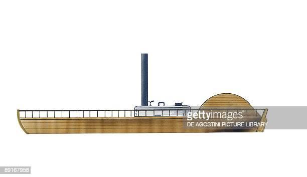 Paddle wheel steamboat British Charlotte Dundas illustration