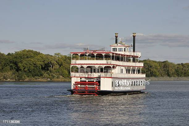 Paddle Wheel Steamboat on River