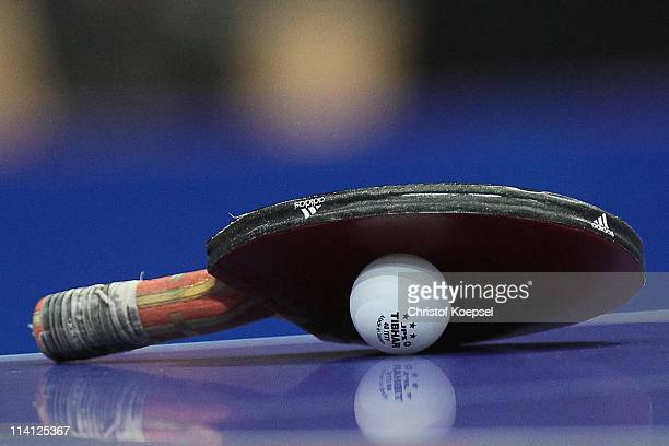 A paddle with a ball lies on the table during the World Table Tennis Championships at Ahoy Arena on May 12 2011 in Rotterdam Netherlands