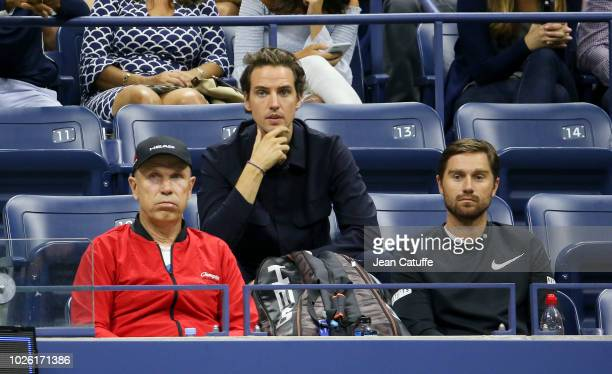 Paddle8 cofounder Alexander Gilkes boyfriend of Maria Sharapova of Russia and her coach Thomas Hogstedt during her match on day 6 of the 2018 tennis...