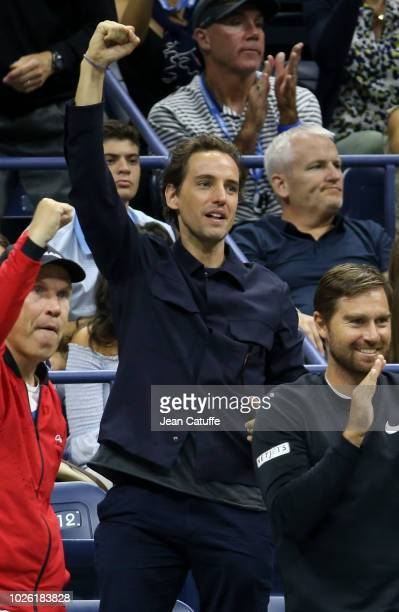 Paddle8 cofounder Alexander Gilkes celebrates the victory of his girlfriend Maria Sharapova of Russia during day 6 of the 2018 tennis US Open on...