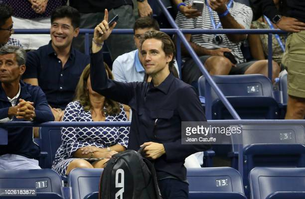 Paddle8 cofounder Alexander Gilkes following the victory of his girlfriend Maria Sharapova of Russia during day 6 of the 2018 tennis US Open on...