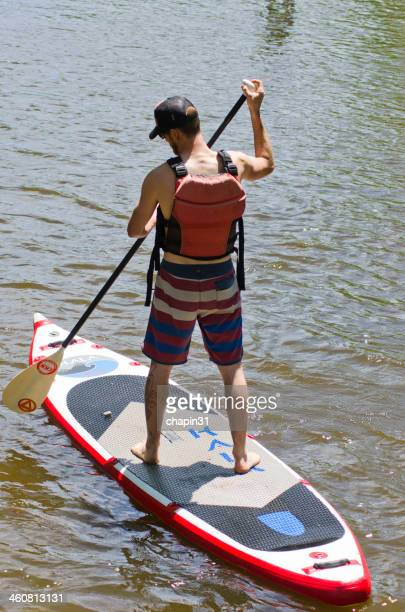 Paddleboard Athlete in Lake