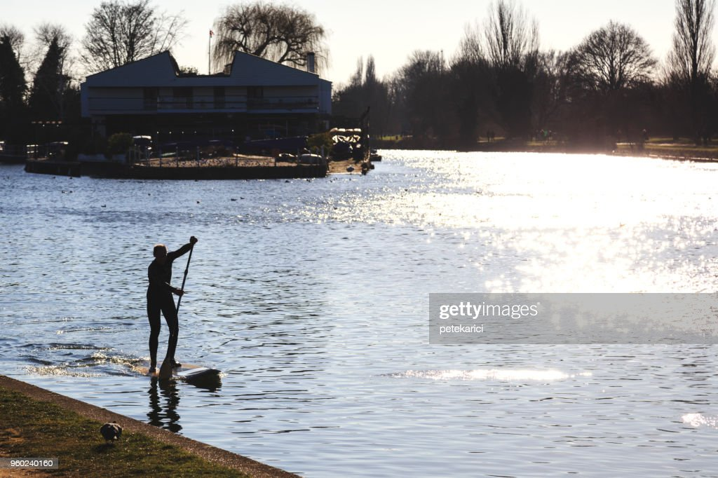 Paddleboarding on River Thames in Kingston upon Thames, UK : Stock Photo