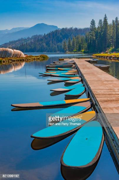 Paddleboards at dock in Hume Lake near Kings Canyon National Park, CA