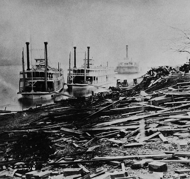 paddlewheelers landing near rubble pictures getty images
