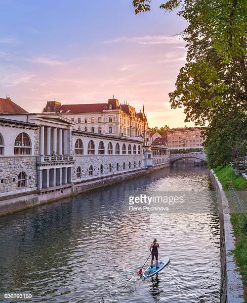 paddling through ljubljanica - slovenia stock pictures, royalty-free photos & images