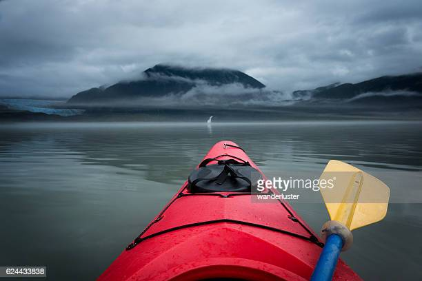 Paddling toward Mendenhall Glacier and waterfall