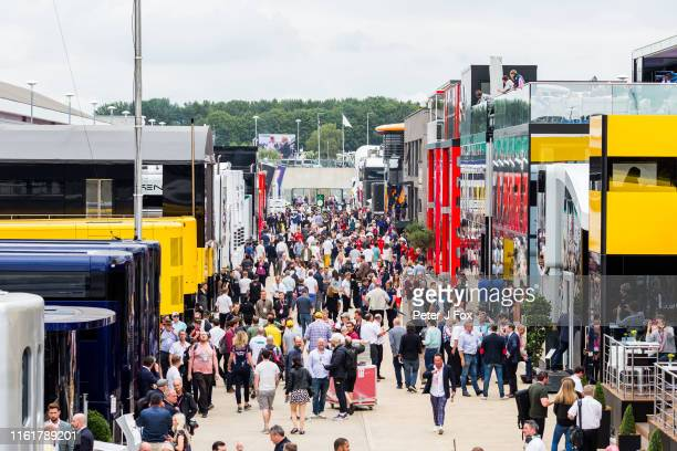 Paddock during final practice for the F1 Grand Prix of Great Britain at Silverstone on July 13, 2019 in Northampton, England.