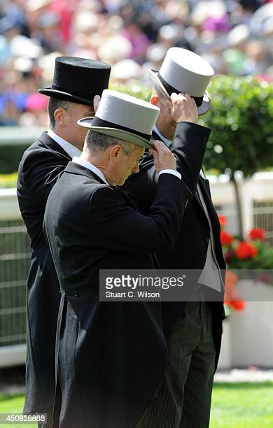 Paddock Stewards await Queen Elizabeth II during Day 4 of Royal Ascot at Ascot Racecourse on June 20 2014 in Ascot England