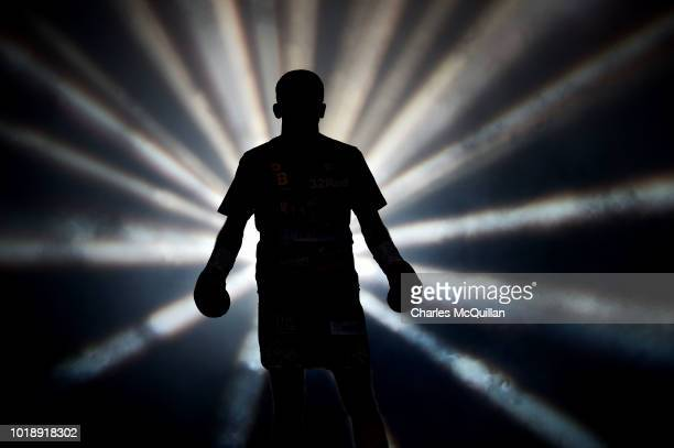 Paddy Barnes makes his way towards the ring for his bout with Cristofer Rosales for the WBC flyweight world title at Windsor Park on August 18, 2018...